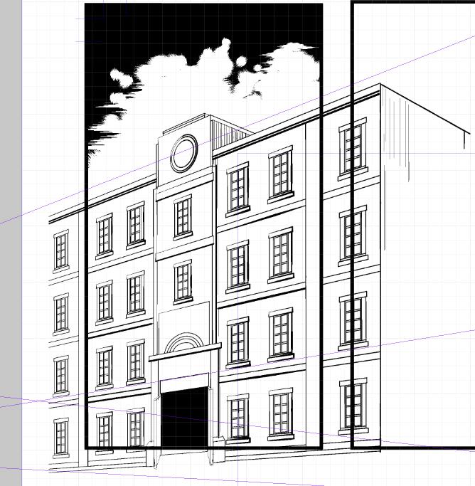 漫画の背景】超簡単!素材を使って5分で描く建物の描き方